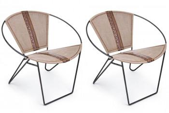 lot de 2 fauteuils en toile et cuir de buffle