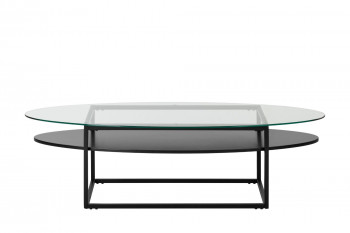 Table basse ovale en verre et métal L140 - LUKE