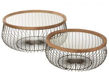 Tables basses rondes en bois et métal (set de 2) - LATINA