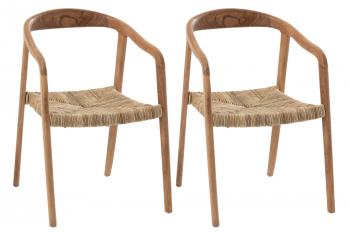lot de deux chaises en teck et jonc de mer