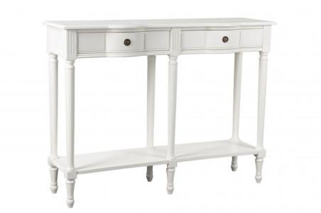 Console drapier blanche de style romantique avec deux tiroirs