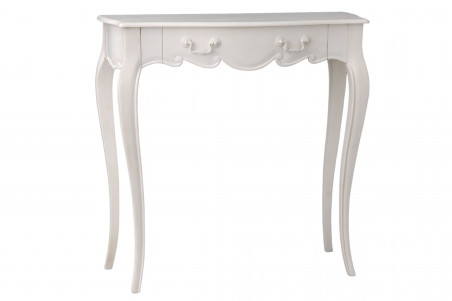 Petite console blanche romantique en bois