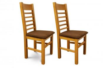 Lot de 2 chaises en chêne clair avec assise en tissu de couleur chocolat