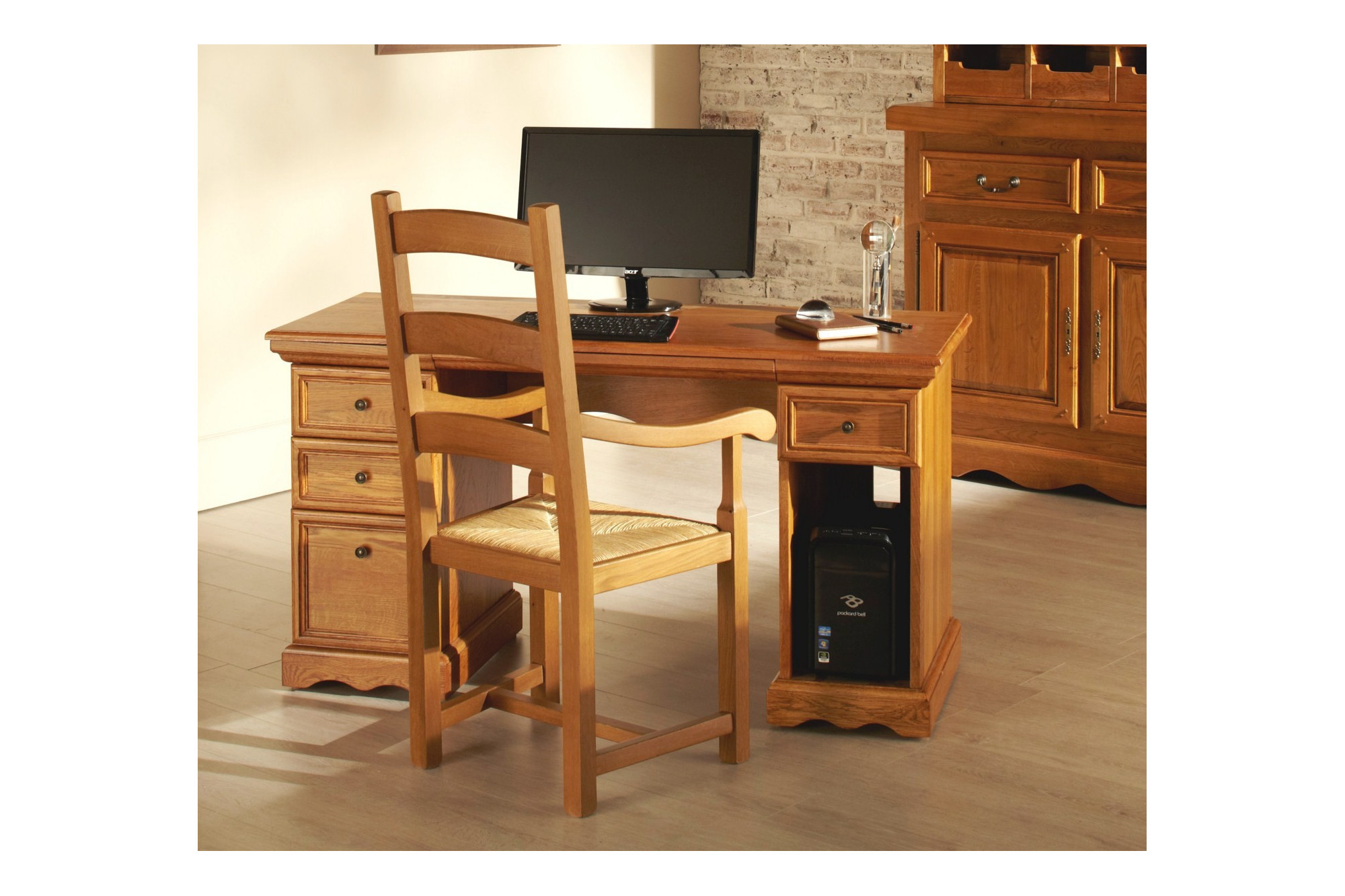 Bureau informatique bois clair: bureau informatique en bois bureau