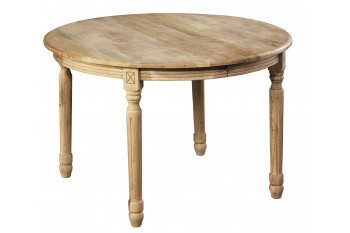Table ronde + 5 allonges - bois chêne patiné massif