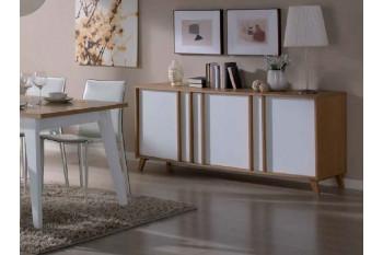 Buffet moderne 3 portes MONDRIAN - Coloris ivoire