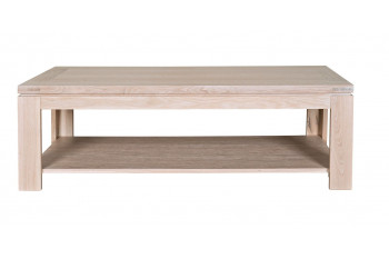 Table basse rectangulaire BOSTON - bois chêne blanchi massif