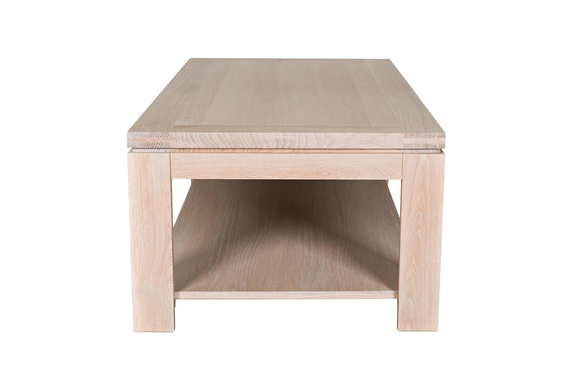 6de949afff8ac Table basse rectangulaire BOSTON - bois chêne blanchi massif. Appuyez pour  agrandir