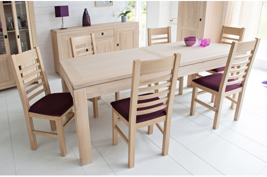 Table moderne extensible BOSTON - bois chêne blanchi massif