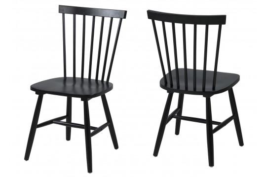 Lot de 2 chaises bois hévéa TOLEDO - coloris noir