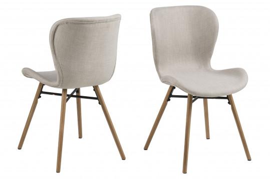 Lot de 2 chaises tissu et bois - Chêne MATILDA - sable