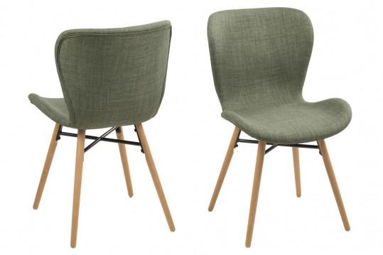 Lot de 2 chaises tissu et bois - Chêne MATILDA - Olive