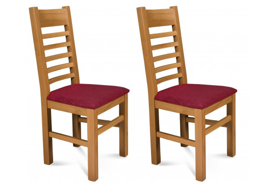 Chaises Boston en chêne clair - Assise Rouge (Lot de 2)
