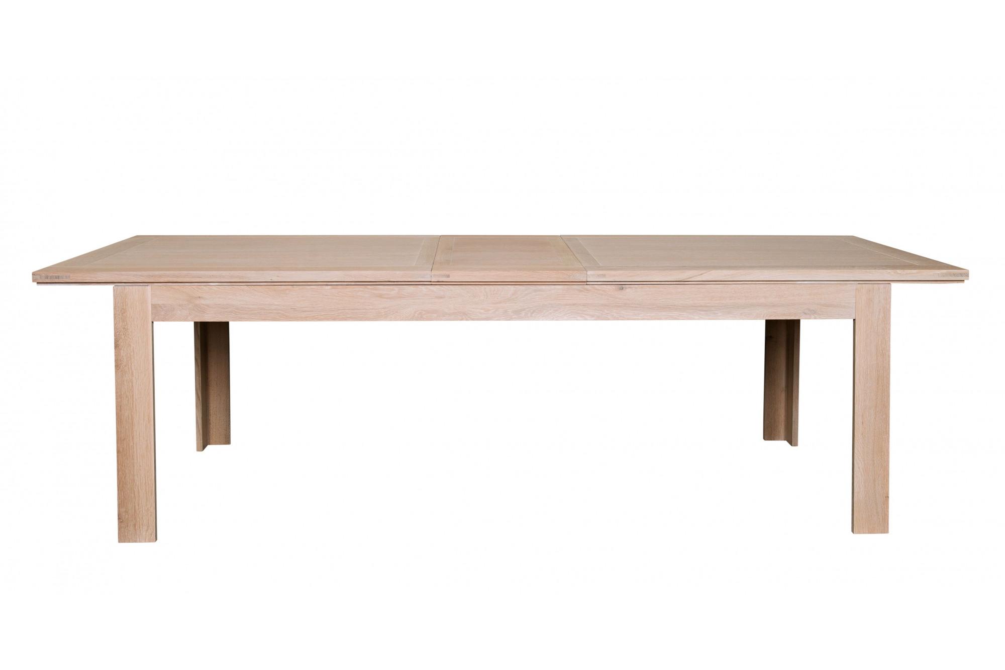 2a8272e9e0b6b Table moderne extensible BOSTON - bois chêne blanchi massif. Appuyez pour  agrandir