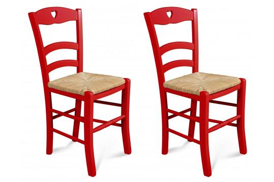 Chaises colorées en hêtre Silva - rouge (Lot de 2)