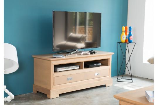 Meuble TV bas moderne Fabric - Coloris Amande
