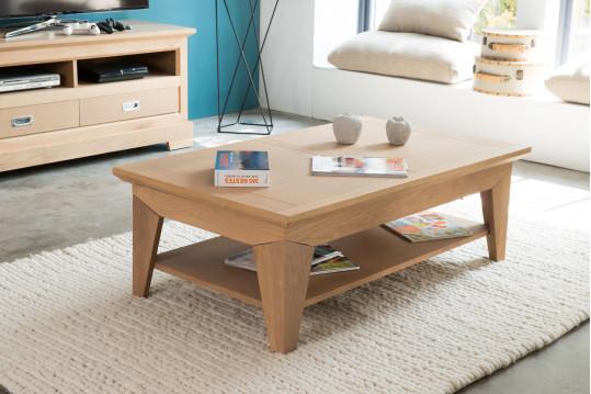 Table basse moderne FABRIC en chene - coloris Amande