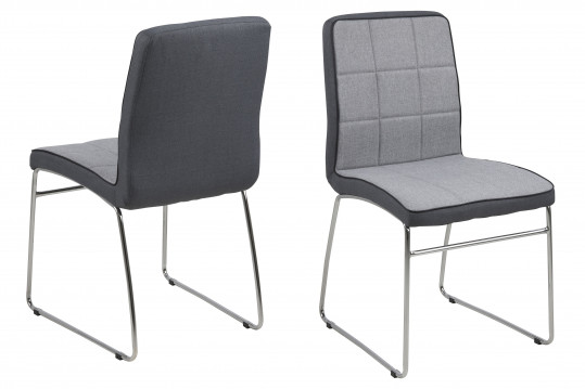 Lot de 2 chaises tissu et métal BIBA