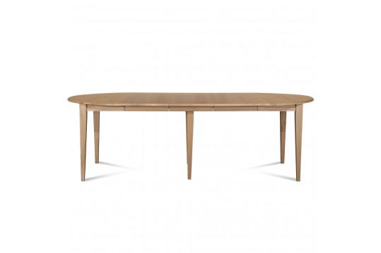Ensemble Table ronde VICTORIA 6 pieds fuseau 115 cm + 3 rallonges bois