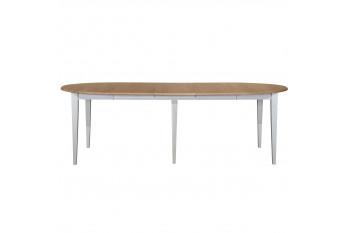 Table ronde VICTORIA 6 pieds fuseau 115 cm + 3 rallonges bois