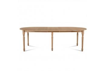 Table ronde VICTORIA 6 pieds tournés 115 cm + 3 rallonges bois