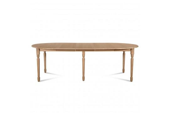 Ensemble Table ronde VICTORIA 6 pieds tournés 115 cm + 3 rallonges bois