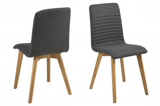 Lot de 2 chaises tissu et bois - Chêne ROSA