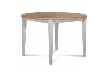 Table ronde extensible bois D105 cm - 1 allonge - Pieds fuseau - VICTORIA