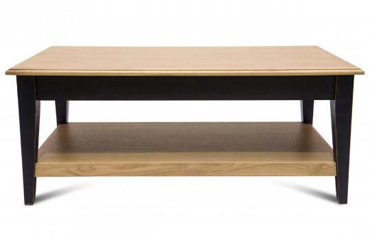Table basse en chêne Victoria 1 tiroir pieds fuselés - bois noir patiné
