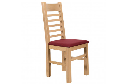 Lot de 2 Chaises en chêne blanchi Boston - Assise rouge