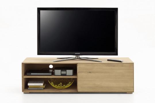 Meuble TV bas FILIGRAME en bois massif, finition chêne naturel