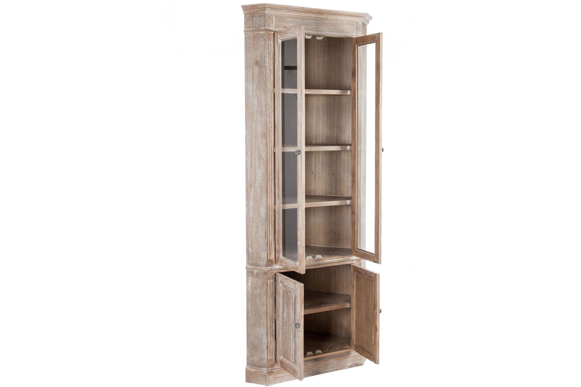 bibliothèque d'angle en bois blanchi - hellin
