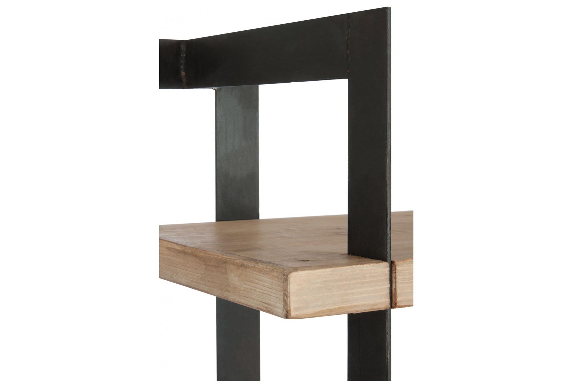 biblioth que moderne industriel bois m tal hellin. Black Bedroom Furniture Sets. Home Design Ideas