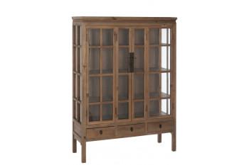 Vitrine en bois 2 portes, 3 tiroirs