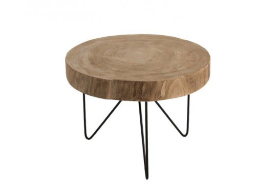 TABLE GIGOGNE RONDE BOIS METAL 50 CM