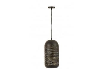 Lampe suspendue en métal noir et doré